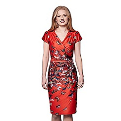 Yumi - Red tie belt butterfly print wrap dress
