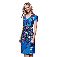 Yumi - Blue butterfly print wrap dress