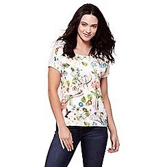 Yumi - White flora & fauna print short sleeves top