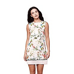 Yumi - White floral print sleeveless shift dress