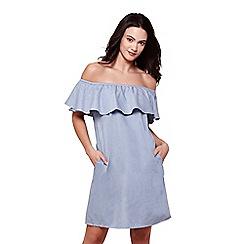 Yumi - Blue denim bardot ruffle collar dress