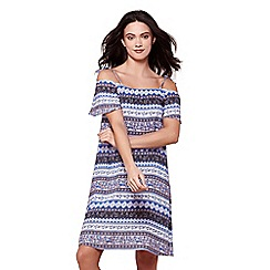 Yumi - Blue multi print cold shoulder beach dress