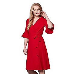 Yumi - Red trumpet sleeves wrap dress