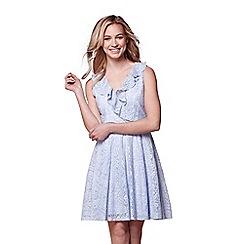 Yumi - Blue v-neck lace dress