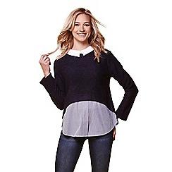 Yumi - Navy shirt collar jumper
