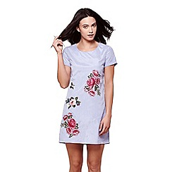 Yumi - Blue floral embroidery stripe tunic dress