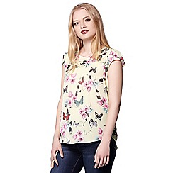 Yumi - Yellow butterfly print short sleeves top