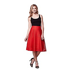 Yumi - Red embroidered flared midi skirt