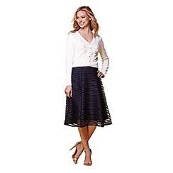 Yumi - Navy embroidered flared midi skirt