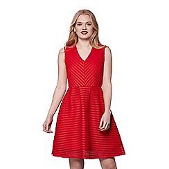 Yumi - Red embroidered v-neck skater dress