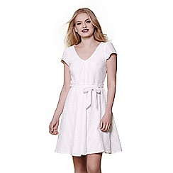 Yumi - Ivory embroidered skater dress