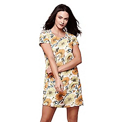 Yumi - Yellow summer floral print tunic dress