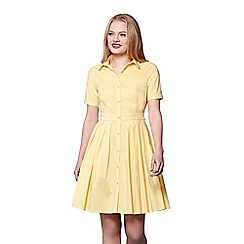 Yumi - Yellow short sleeve shirt dress