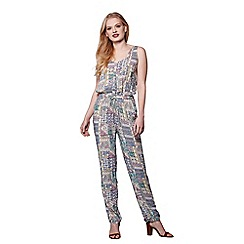 Yumi - Multicoloured sleeveless patchwork jumpsuit