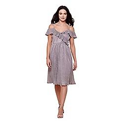 Yumi - Grey metallic plisse bardot dress