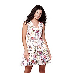 Yumi - Multicoloured floral v-neck skater dress