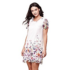 Yumi - Ivory embroidered floral tunic dress
