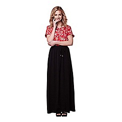 Yumi - Black tie waist summer maxi skirt