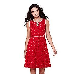 Yumi - Red sleeves spot print tea dress