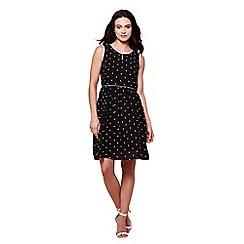 Yumi - Black sleeves spot print tea dress