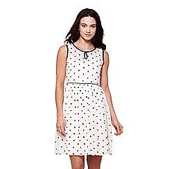 Yumi - White sleeves spot print tea dress
