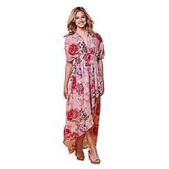 Yumi - Pink floral print stripe high-low maxi dress