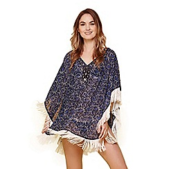 Yumi - Blue fringed beaded tunic top