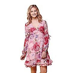 Yumi - Pink floral print stripe summer dress