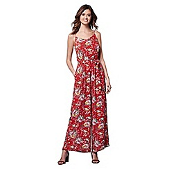 Yumi - Red floral print strap jumpsuit