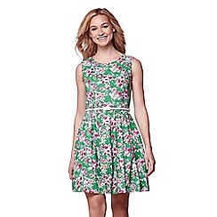 Yumi - Green floral print belted sleeveless dress
