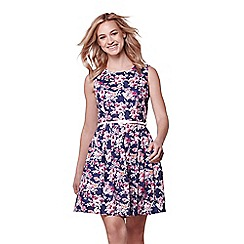 Yumi - Navy floral print belted sleeveless dress