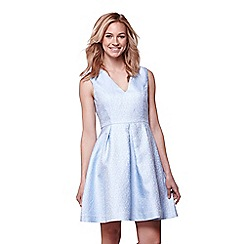 Yumi - Blue jacquard occasion dress