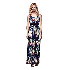 Yumi - Navy autumnal floral maxi dress