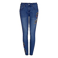 Yumi - Blue floral embroidered jeans