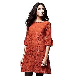 Yumi - Orange flared sleeves lace 'Carly' mini tunic dress