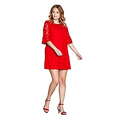 Yumi Curves - Red 'Stella' plus size tunic dress
