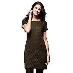 Yumi - Green chevron lace 'Zoha'mini tunic dress