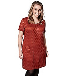 Yumi Curves - Orange laced chevron 'Lisaá' mini tunic dress