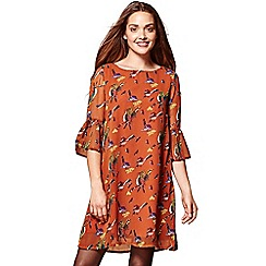 Yumi - Orange bird print 'Ruth' frill cuffs tunic dress