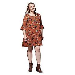 Yumi Curves - Orange patterned 'Margot' mini tunic dress