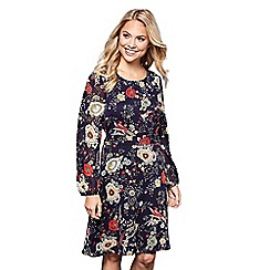 Yumi - Blue floral print 'Kristina' sheer sleeves skater dress
