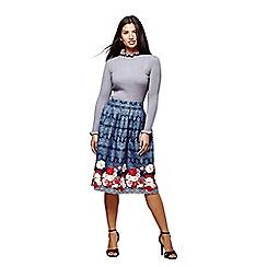 Yumi - Blue FloralTop and Skirt Set