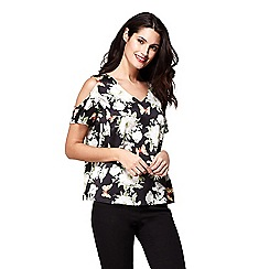 Yumi - Black floral print and butterfly pattern top