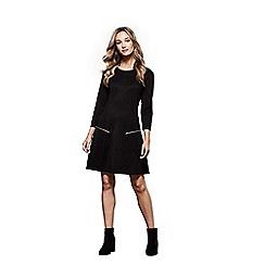Yumi - Black 'Tulisa' ziped pocket tunic dress
