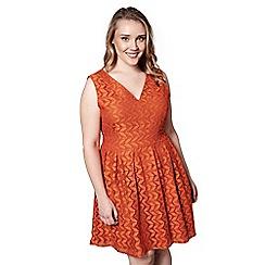 Yumi Curves - Orange floral print 'Shreya' sleeveless skater