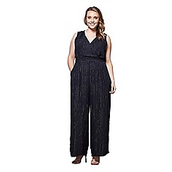 Yumi Curves - Blue metallic lurex pinstripe jumpsuit