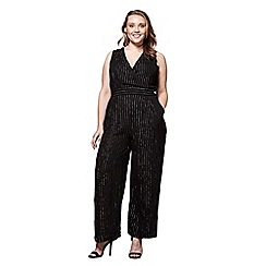 Yumi Curves - Black metallic lurex pinstripe jumpsuit