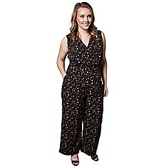 Yumi Curves - Black ditsy floral print jumpsuit