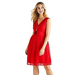 Yumi - Stripe border lace tea dress