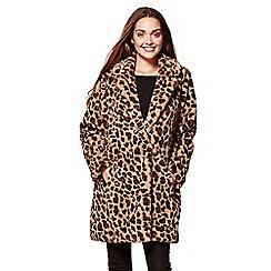 Yumi - Multicoloured soft faux fur leopard print coat